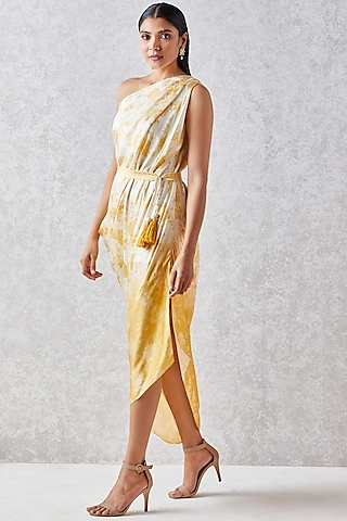 Ivory One Shoulder Draped Dress by Anita Dongre