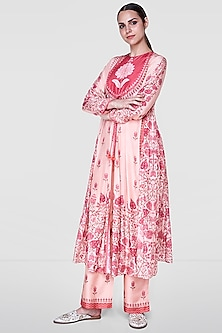 Rose Pink Floral Jacket With Printed Pants by Anita Dongre
