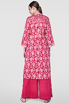 Berry Pink Floral Kurta With Printed Pants by Anita Dongre