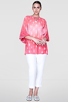 Coral Top With Tassels by Anita Dongre