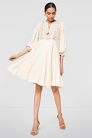 Cream Floral Embroidered Dress by Anita Dongre