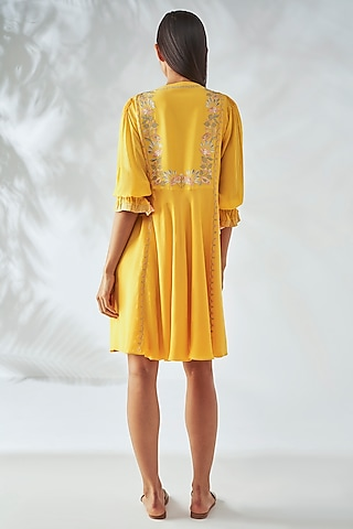 Yellow Floral Embroidered Dress by Anita Dongre