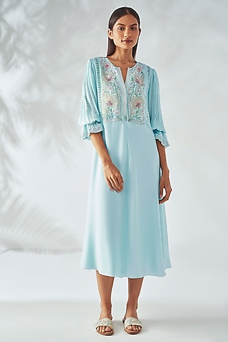 Ice Blue Floral Embroidered Dress by Anita Dongre