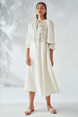 Cream Embroidered Dress by Anita Dongre