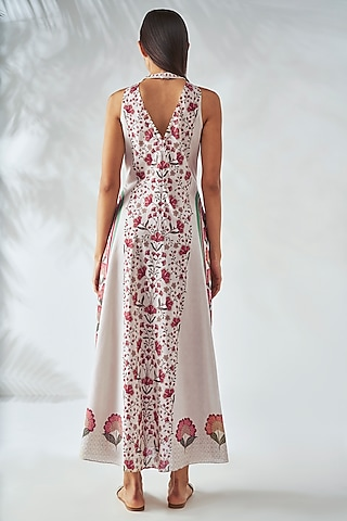 White Floral Printed Dress by Anita Dongre