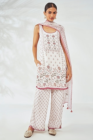 White Modal Kurta Set by Anita Dongre