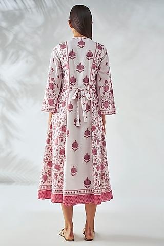 Pink & White A-Line Midi Dress by Anita Dongre