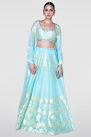 Airy Pastel Colored Lehenga Set With Metallic Thread by Anita Dongre
