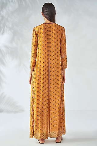 Sunray Yellow Floral Dress With Pockets by Anita Dongre