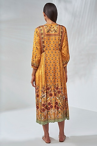 Sunray Yellow Floral A-Line Dress With Pockets by Anita Dongre