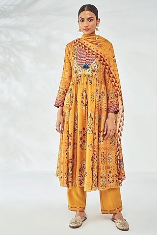 Sunray Yellow Printed Anarkali Set by Anita Dongre
