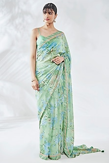 Sage Green Printed Saree Set by Anita Dongre