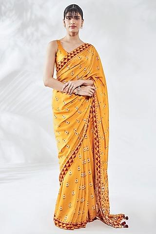 Yellow Printed Saree Set by Anita Dongre