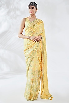 Yellow Floral Printed Saree Set by Anita Dongre
