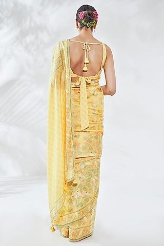 Yellow Floral Printed Saree Set by Anita Dongre