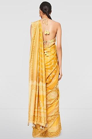 Ochre Yellow Printed Saree Set by Anita Dongre