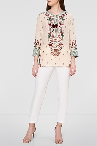 White Printed Top With Kaftan Sleeves by Anita Dongre