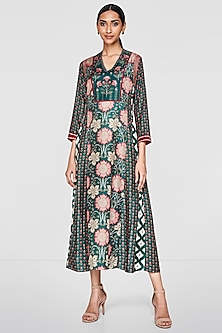 Emerald Green Printed Tunic With Belt by Anita Dongre