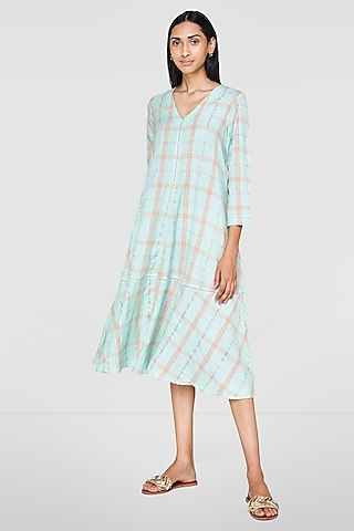 Ice Blue & Pink Striped Dress by Anita Dongre