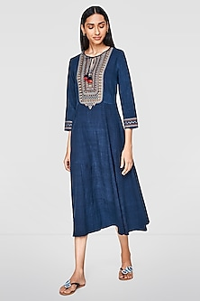 Indigo Blue Zari Embroidered Dress by Anita Dongre