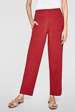 Red Ankle Length Trousers by Anita Dongre