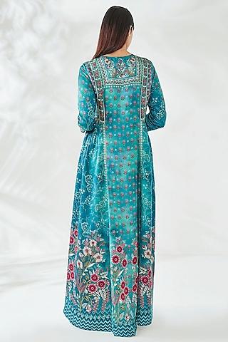 Peacock Blue Viscose Kaftan by Anita Dongre