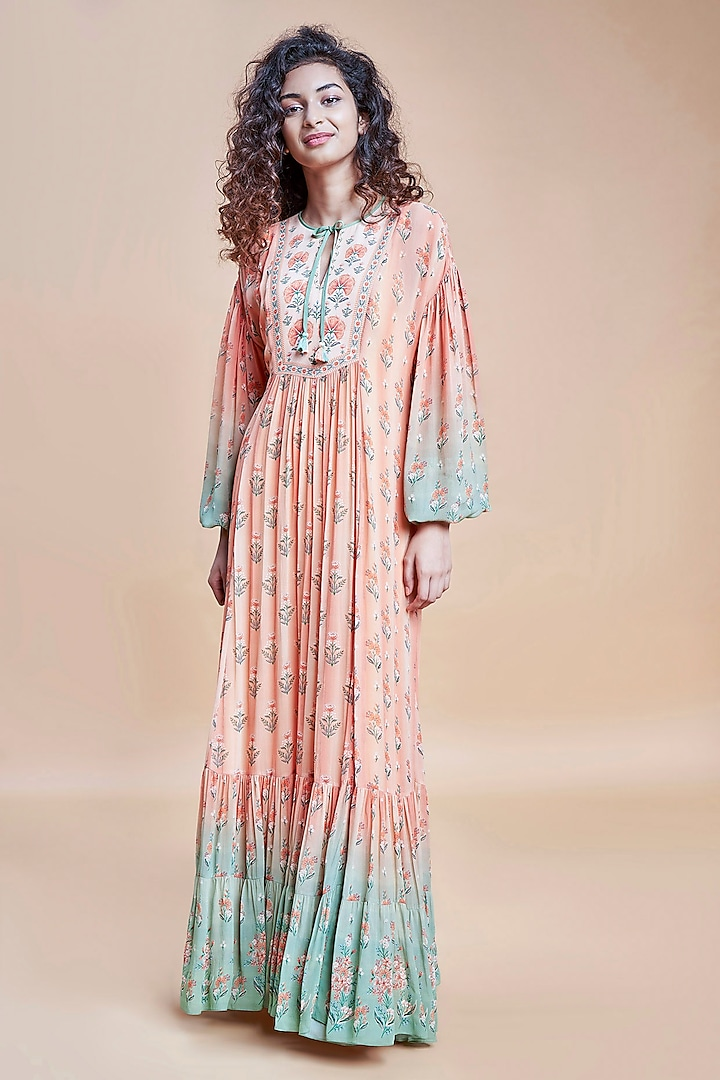 Peach Ombre Floral Kaftan by Anita Dongre