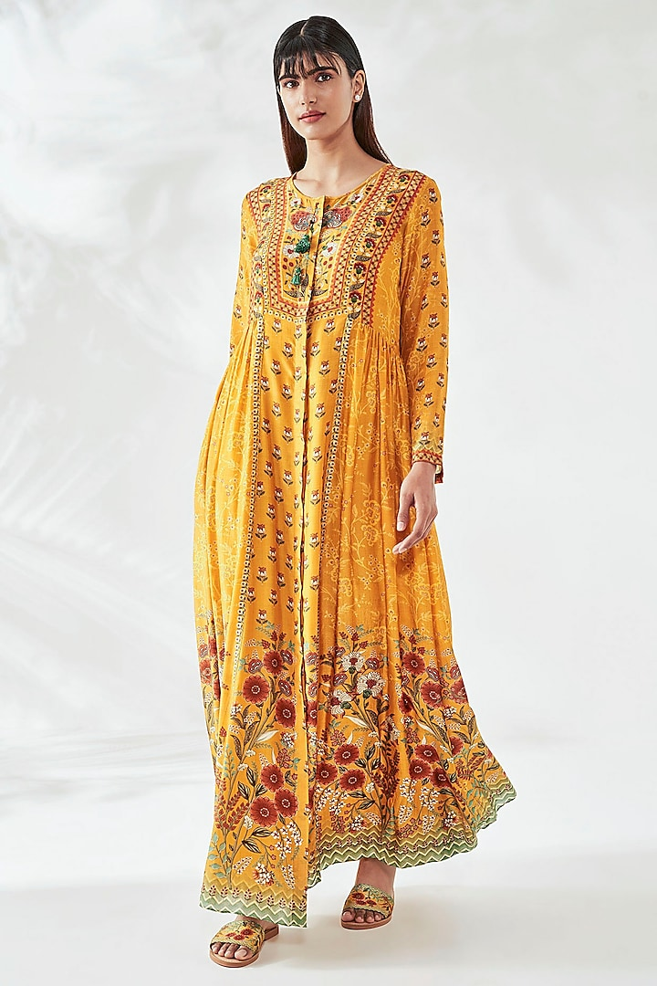 Yellow Floral Kaftan by Anita Dongre