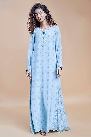 Powder Blue Floral Kaftan by Anita Dongre