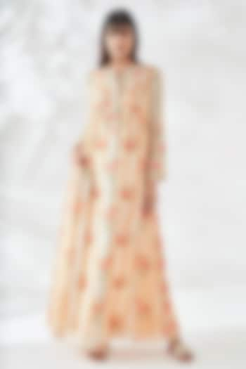 Beige Floral Kaftan With Side Pockets by Anita Dongre