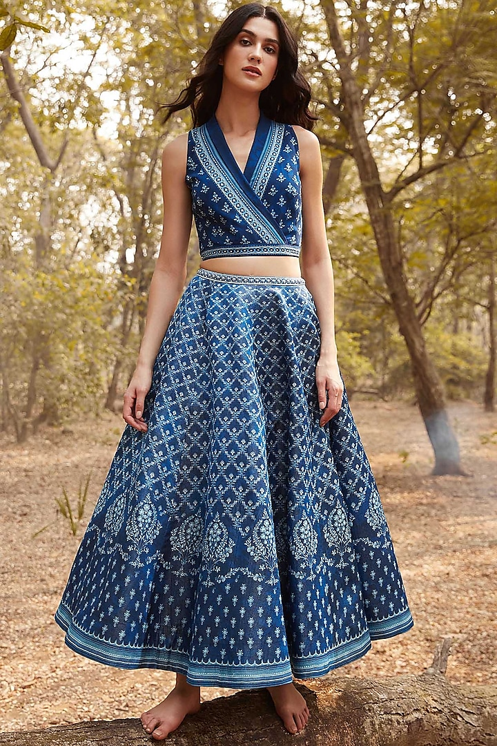 Indigo Blue Floral Skirt Set by Anita Dongre