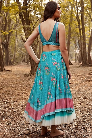 Turquoise & Pink Floral Skirt Set by Anita Dongre