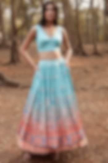Powder Blue Floral Skirt Set by Anita Dongre