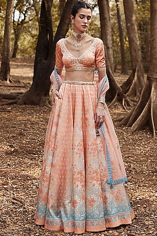 Peach Floral Printed Lehenga Set by Anita Dongre