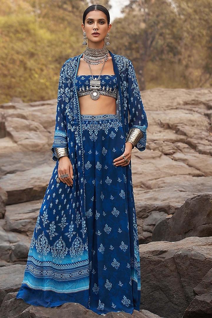 Indigo Blue Sharara Set With Pockets by Anita Dongre