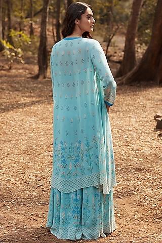 Ice Blue Floral Printed Sharara Set by Anita Dongre