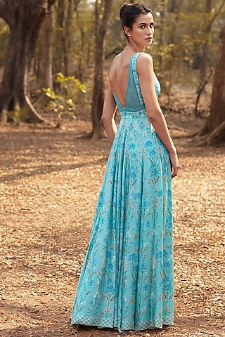 Powder Blue Cocktail Gown by Anita Dongre
