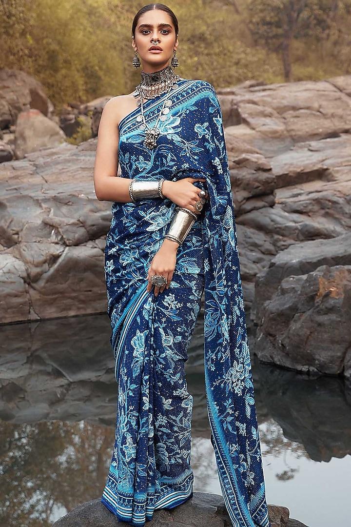 Deep Indigo Blue Motifs Saree Set by Anita Dongre