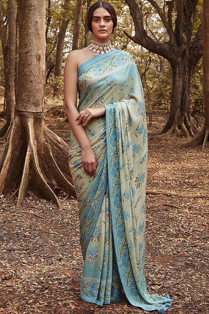 Sage Green Floral Printed Saree Set by Anita Dongre