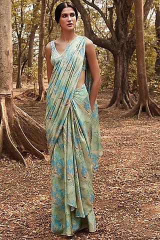 Sage Green Printed Saree Set by Anita Dongre
