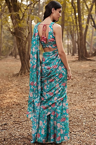 Turquoise Floral Saree Set by Anita Dongre