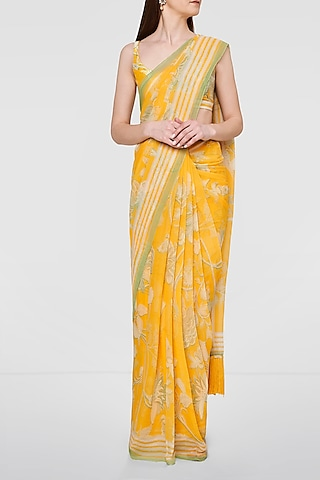 Yellow Silk Saree Set by Anita Dongre