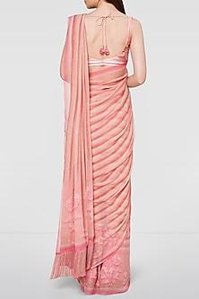 Blush Pink Striped Saree Set by Anita Dongre