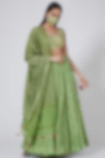Vibrant Green Floral Printed Lehenga Set by Anita Dongre