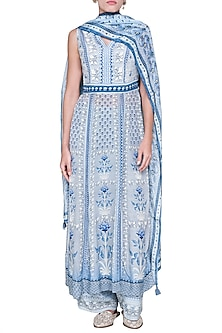 Grey & Blue Printed Kurta Set by Anita Dongre