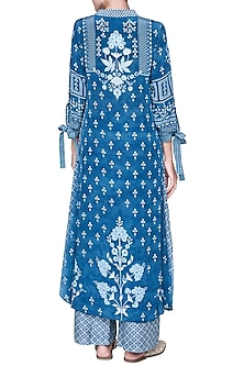 Blue Printed Collared Kurta With Pants by Anita Dongre