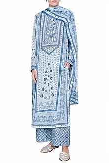 Powder Blue Printed Kurta Set by Anita Dongre