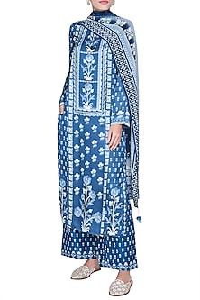 Blue Embellished & Printed Kurta Set by Anita Dongre