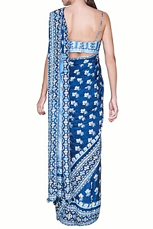 Blue Printed Saree Set by Anita Dongre