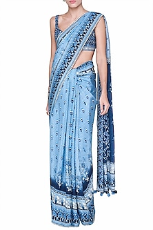 Light Blue Printed Saree Set by Anita Dongre